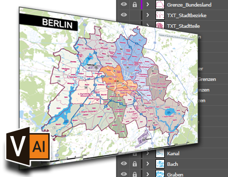 Vektorkarten für Illustrator, Landkarten für Illustrator, Postleitzahlenkarten, Stadtkarten ...