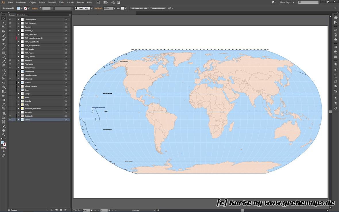 Vektorkarten Welt Robinson, Vektor Karte Welt Illustrator, Weltkarte Vektor Robinson Illustrator, Weltkarte (Planispäre nach Robinson, vermittelnd), Vektorkarte, Illustrator