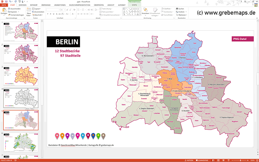 Berlin PowerPoint-Karte mit Bezirken und Stadtteilen, Karte PowerPoint Berlin