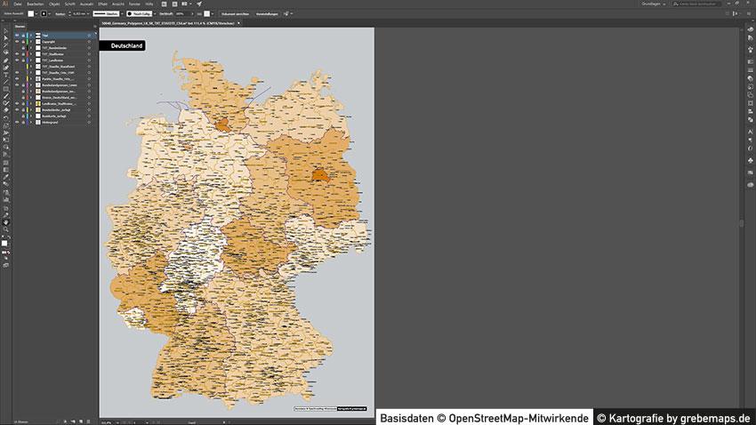 Deutschland Landkreise Stadtkreise Vektorkarte, Karte Deutschland Landkreise, Vektor Karte Deutschland, Karte Landkreise Deutschland