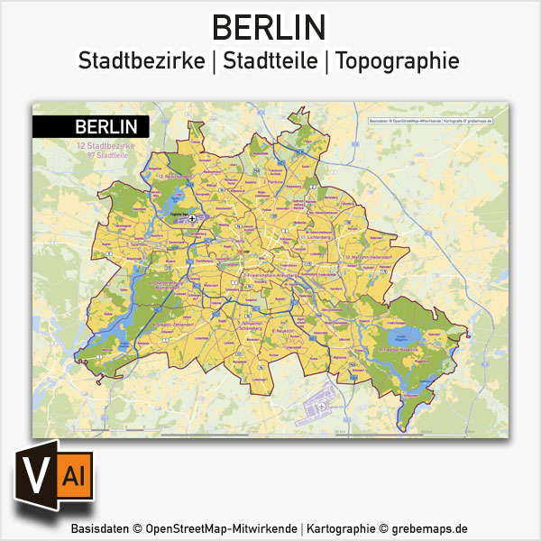 Berlin Stadtplan Vektor Stadtbezirke Stadtteile Topographie