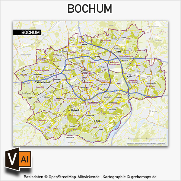 Bochum Stadtplan Stadtbezirke Stadtteile Topographie Vektorkarte