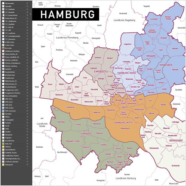 Hamburg Stadtplan Vektor Stadtbezirke Stadtteile Topographie