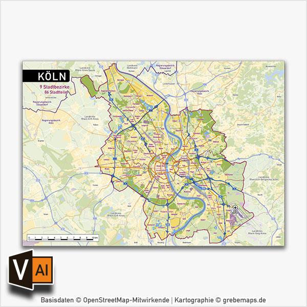 Köln Stadtplan Vektor Stadtbezirke Stadtteile Topographie
