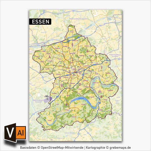 Essen Stadtplan Vektor Stadtbezirke Stadtteile Topographie