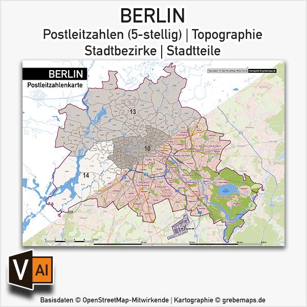 Berlin Stadtplan Postleitzahlen PLZ-5 Topographie Stadtbezirke Stadtteile Vektorkarte