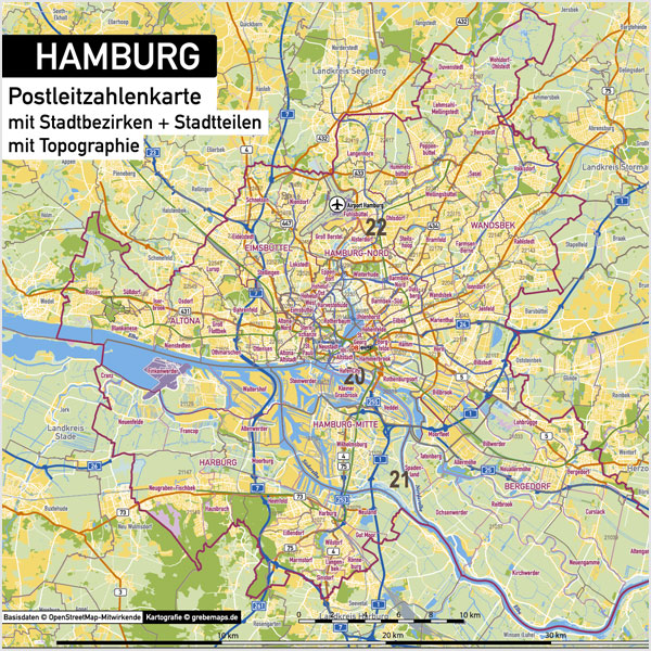 Hamburg Stadtplan Postleitzahlen PLZ-5 Topographie Stadtbezirke Stadtteile Vektorkarte