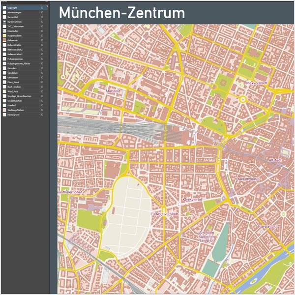 München-Zentrum Stadtplan Vektor Mit Gebäuden Basiskarte