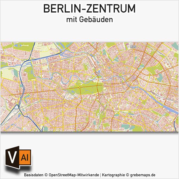 Berlin-Zentrum Vektor-Karte Mit Gebäuden Basiskarte