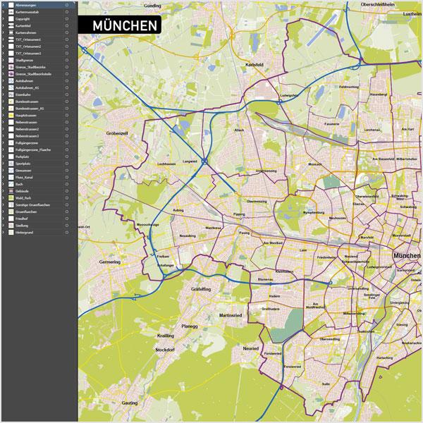 Vektorkarten Illustrator, München Stadtplan Vektor Mit Gebäuden, Karte München Mit Gebäuden + OEPNV-Linien, Vektorkarte München, Stadtplan München
