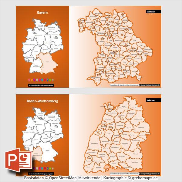 Deutschland PowerPoint-Karte Lankreise Stadtkreise Bundesländer