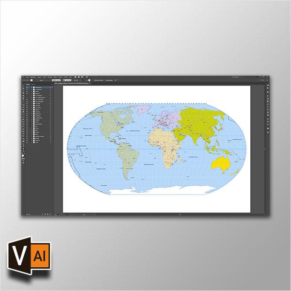 Weltkarte Vektor (Robinson), Vektorkarten Welt Robinson