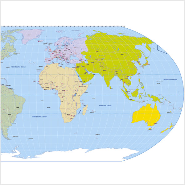 Vektorkarten Welt Robinson