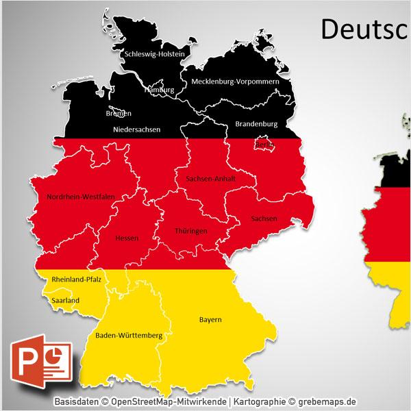 PowerPoint-Karte Deutschland Bundesländer