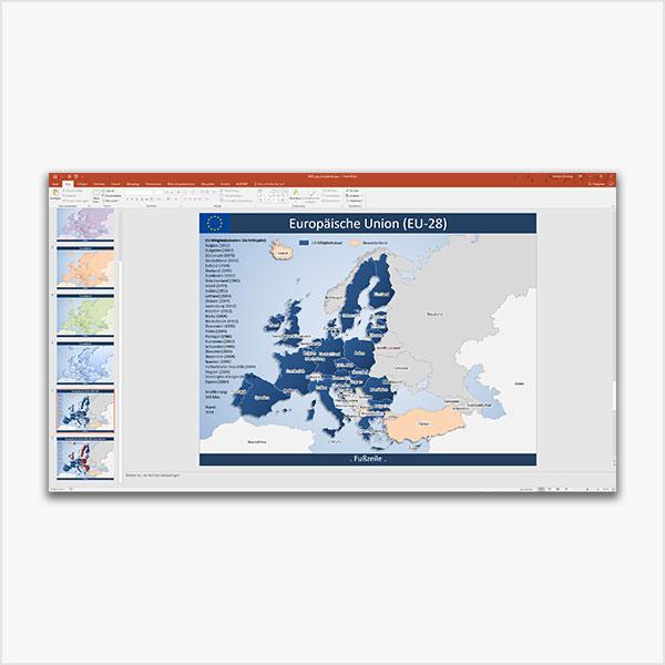 Europa PowerPoint-Karte EU-28