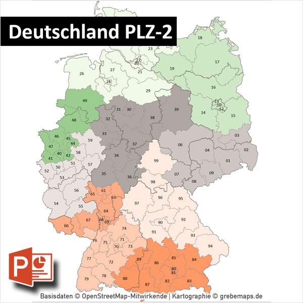 PowerPoint-Karte Deutschland Postleitzahlen PLZ-2 Bundesländer Ortsnamen Mit Bitmap-Karten
