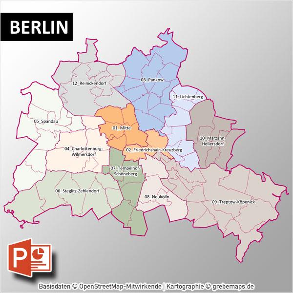 PowerPoint-Karte Berlin Mit Bezirken Und Stadtteilen Mit Bitmap-Karten