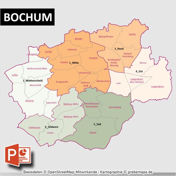 PowerPoint-Karte Bochum Mit Bezirken Und Stadtteilen Mit Bitmap-Karten