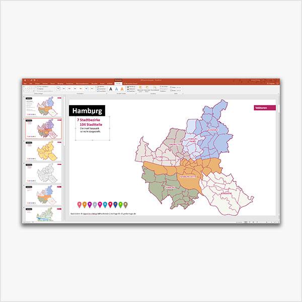Hamburg PowerPoint-Karte Mit Bezirken Und Stadtteilen