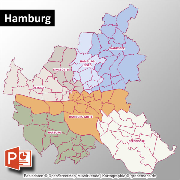 PowerPoint-Karte Hamburg Mit Bezirken Und Stadtteilen Mit Bitmap-Karten
