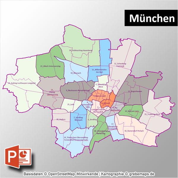 PowerPoint-Karte München Mit Bezirken Und Stadtteilen Mit Bitmap-Karten