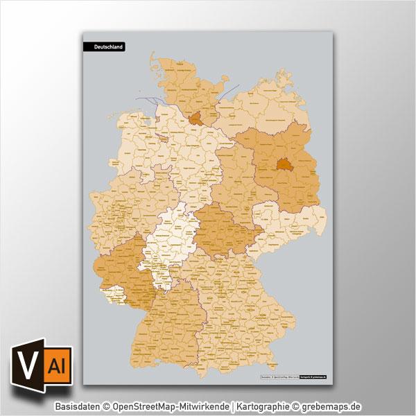 Deutschland Landkreise Stadtkreise Bundesländer Vektorkarte (2017)