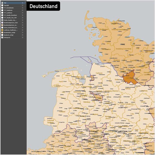Deutschland Landkreise Stadtkreise Bundesländer Vektorkarte, Karte Deutschland Landkreise, Karte Vektor Deutschland Landkreise Bundesländer
