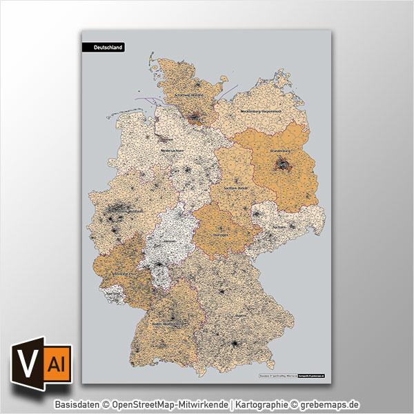 Deutschland Postleitzahlen PLZ-5 Vektorkarte 5-stellig (2017)
