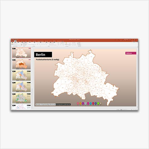 Berlin PowerPoint-Karte Postleitzahlen PLZ-5