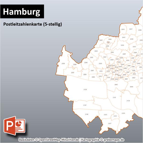 PowerPoint-Karte Hamburg Postleitzahlen PLZ-5 Mit Bitmap-Karten