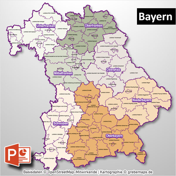 PowerPoint-Karte Bayern Regierungsbezirke Landkreise (Gemeinden Als Bitmap-Karte)