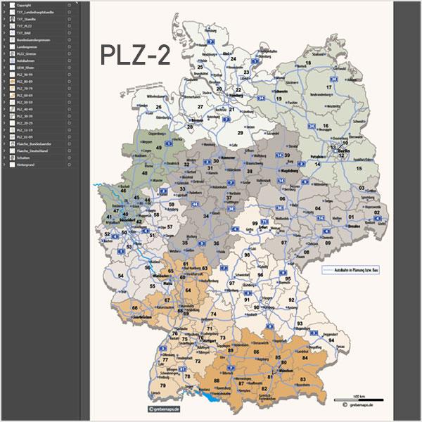 Deutschland Postleitzahlenkarte Vektor PLZ-2 Mit Autobahnen