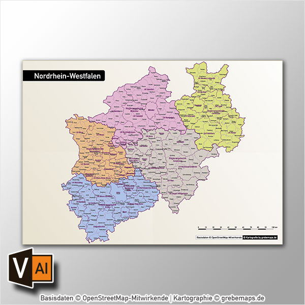 Nordrhein-Westfalen Vektorkarte NRW Landkreise Regierungsbezirke Gemeinden Autobahnen