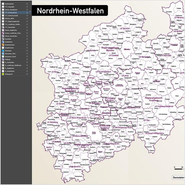 Nordrhein-Westfalen Vektorkarte NRW Landkreise Regierungsbezirke Gemeinden