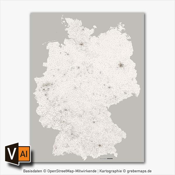 Deutschland Postleitzahlen PLZ-5 Vektorkarte Abstrahiert (2017)