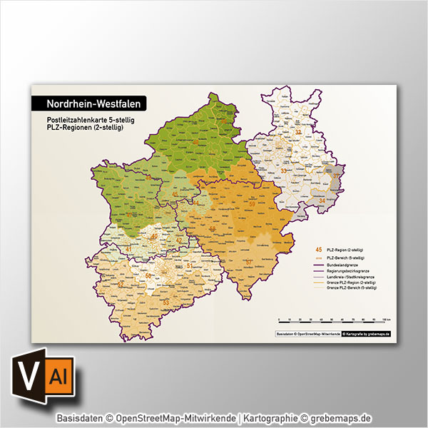 Nordrhein-Westfalen Postleitzahlenkarte 5-stellig PLZ-5 Vektorkarte PLZ-2 Autobahnen, Landkreise, Gewässer