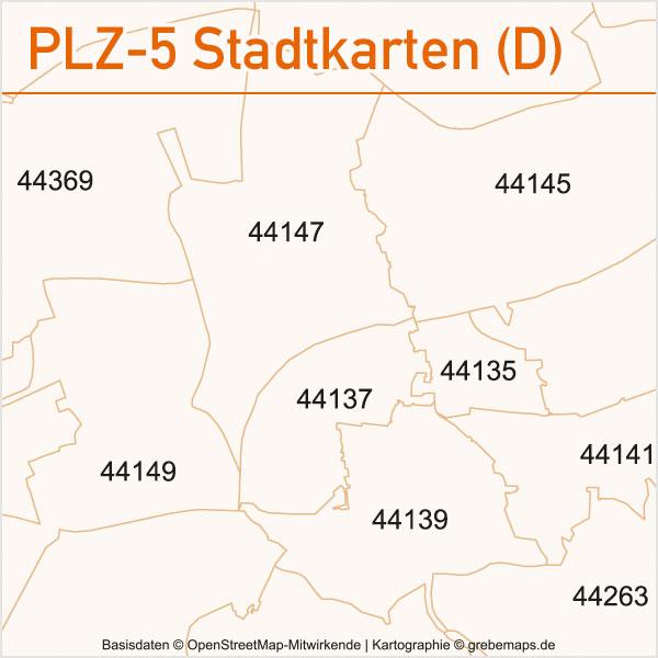Postleitzahlen-Karten PLZ-5 Vektor Stadtkarten Deutschland