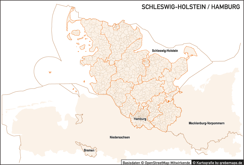 Schleswig-Holstein / Hamburg Vektorkarte Landkreise Gemeinden PLZ-5 Vektor, Vektorkarte Schleswig-Holstein mit Postleitzahlen und Gemeindegrenzen, Gemeindegrenzen-Karte Schleswig-Holstein, Landkreis-Karte Schleswig-Holstein