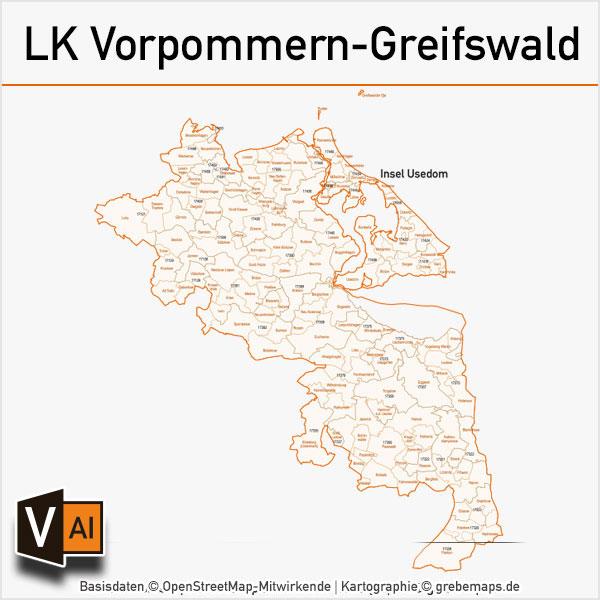 Landkreis Vorpommern-Greifswald Postleitzahlen-Karte PLZ-5 Gemeinden Vektor
