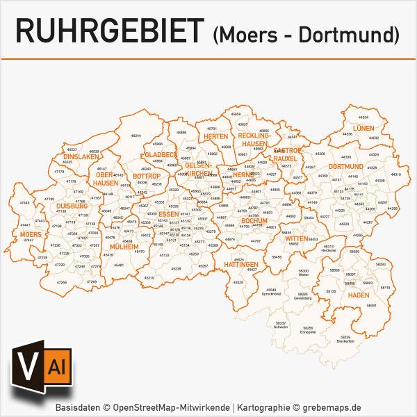 Ruhrgebiet Postleitzahlen-Karte PLZ-5 Gemeinden Vektor