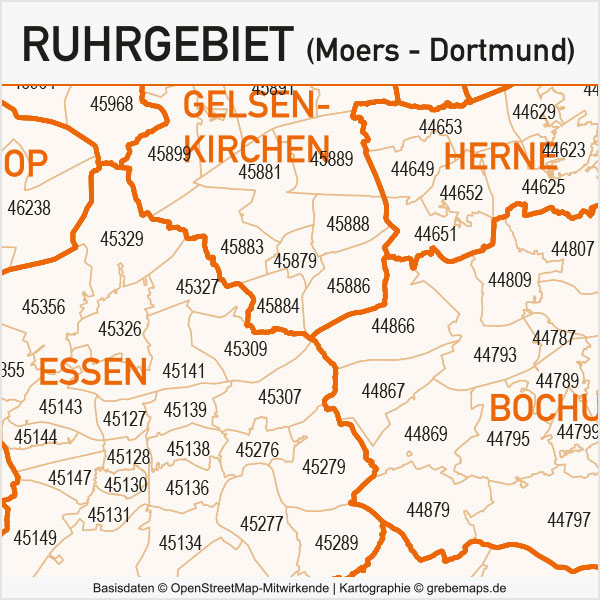 Ruhrgebiet Postleitzahlen-Karte PLZ-5 Gemeinden Vektor, AI-Datei, Vektorkarte Ruhrgebiet, PLZ-Karte Ruhrgebiet, Gemeindekarte Ruhrgebiet