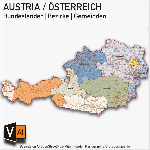 Österreich Austria Vektorkarte Bundesländer Bezirke Gemeinden