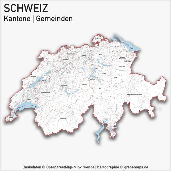 Schweiz Vektorkarte Kantone Gemeinden