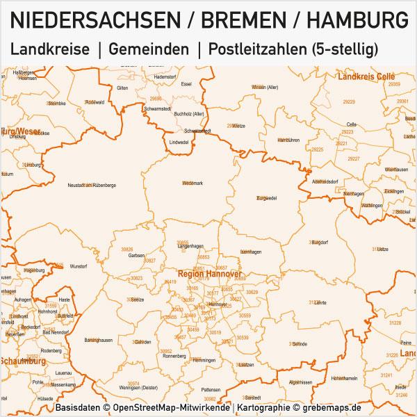 Niedersachsen / Bremen / Hamburg Vektorkarte Landkreise Gemeinden PLZ-5