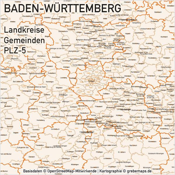 Baden-Württemberg Vektorkarte Landkreise Gemeinden PLZ-5