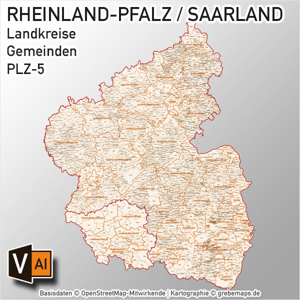 Rheinland-Pfalz / Saarland Vektorkarte Landkreise Gemeinden PLZ-5
