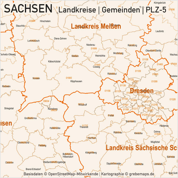 Sachsen Vektorkarte Landkreise Gemeinden PLZ-5