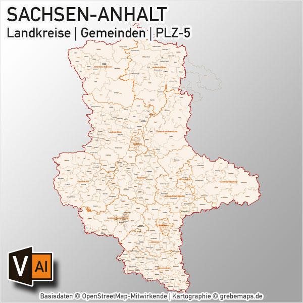 Sachsen-Anhalt Vektorkarte Landkreise Gemeinden PLZ-5