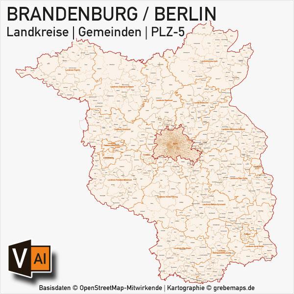 Brandenburg – Berlin Vektorkarte Landkreise Gemeinden PLZ-5