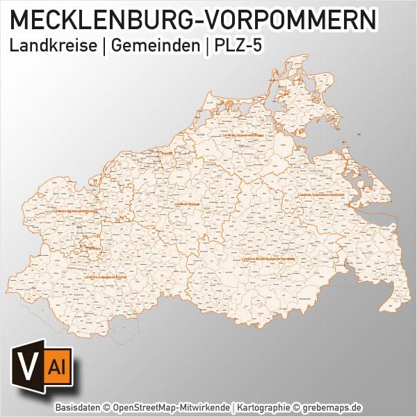 Mecklenburg-Vorpommern Vektorkarte Landkreise Gemeinden PLZ-5